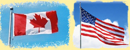 Flags of Canada and the USA